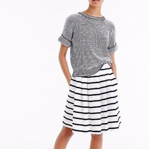 JCREW Nautical Blue Stripe Pull On White Skirt 10